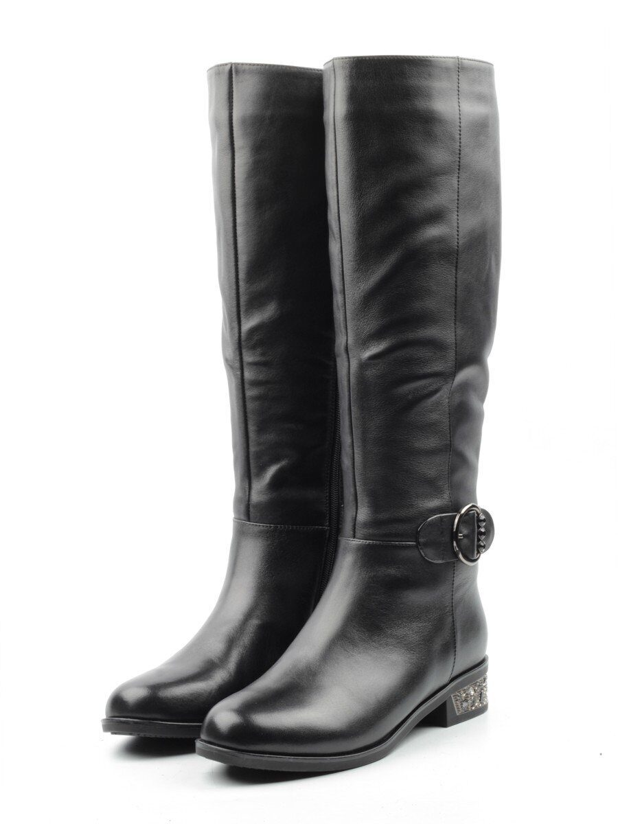 A585-866BM-1 BLACK Сапоги женские (натуральная кожа, натуральный мех (еврозима)) размер 36