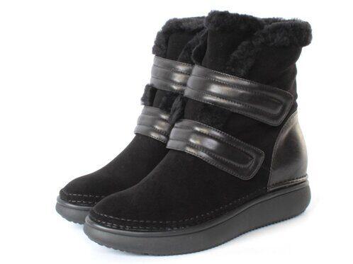 JM721-2 BLACK Ботинки женские (натуральная замша, натуральный мех (полностью)) размер 38